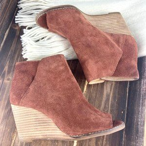 Lucky Brand Suede Peep Toe Wedge Ankle Bootie